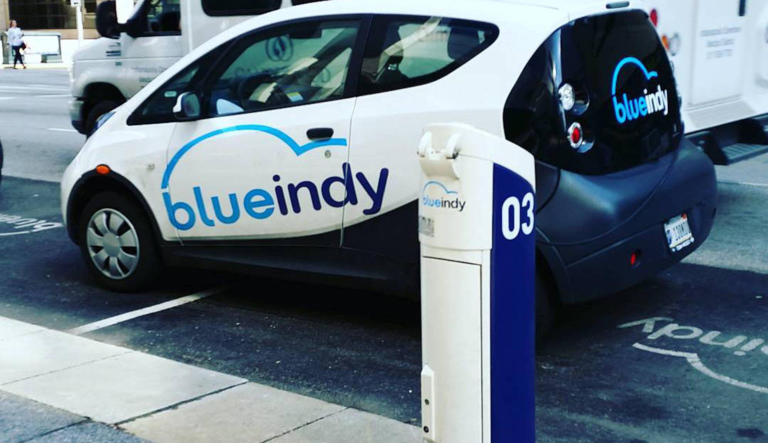 A Blue Indy Electric Car At Charging Station In Indianapolis Deb Nystrom