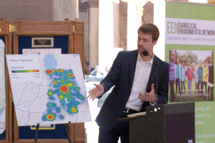 Rev. Kyle Meyaard-Schaap says evangelical christians from all around the state signed the petition (Rebecca Thiele/IPB News)