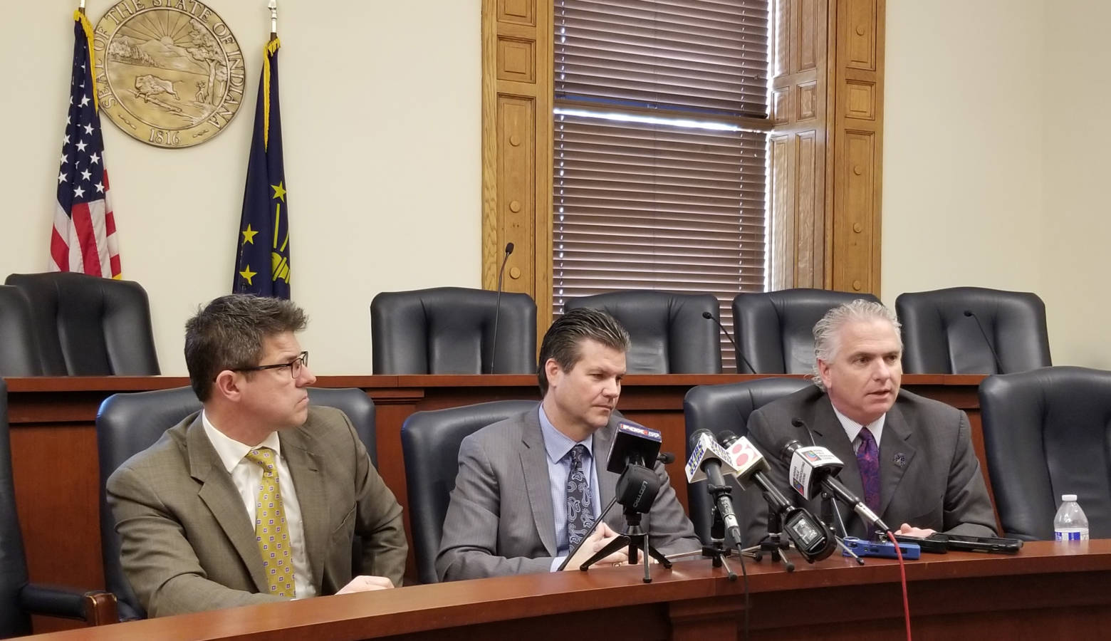 Sens. Rod Bray, Ryan Mishler and Eric Bassler announced the Senate GOP budget proposal Thursday. (Jeanie Lindsay/IPB News)