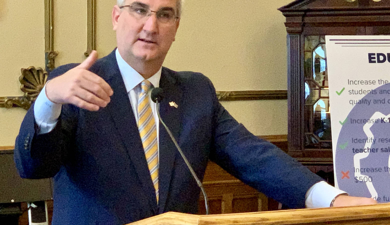 Gov. Eric Holcomb defended how Republican budget writers prioritized the state's dollars as he signed a new budget into law. (Brandon Smith/IPB News)