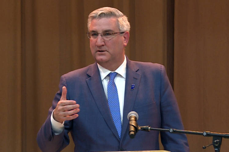 "Gov. Eric Holcomb signed the hate crimes bill into law Wednesday. He called it ""a strong stand against targeted violence."" (Zach Herndon/WTIU)"