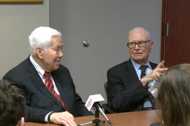 Senator Richard Lugar (left) and Representative Lee Hamilton (right). Indiana University's Hamilton Lugar School of Global and International Studies is named after both lawmakers (Brock Turner/WTIU)
