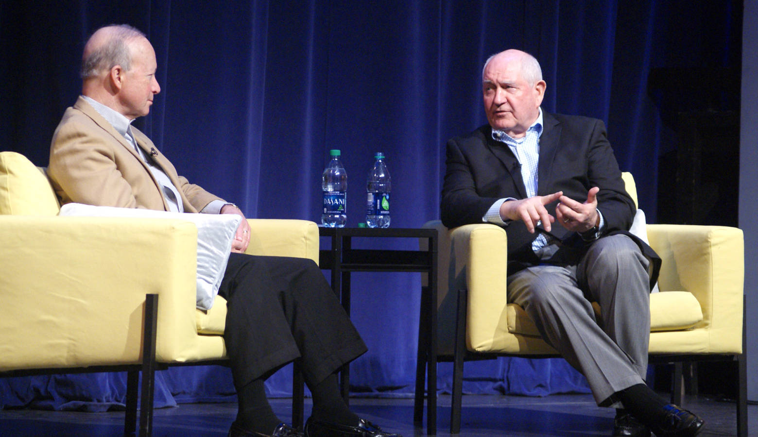Purdue University President Mitch Daniels talk with U.S. Secretary of Agriculture Sonny Perdue on a variety of issues impacting the agricultural industry. (Samantha Horton/IPB News)