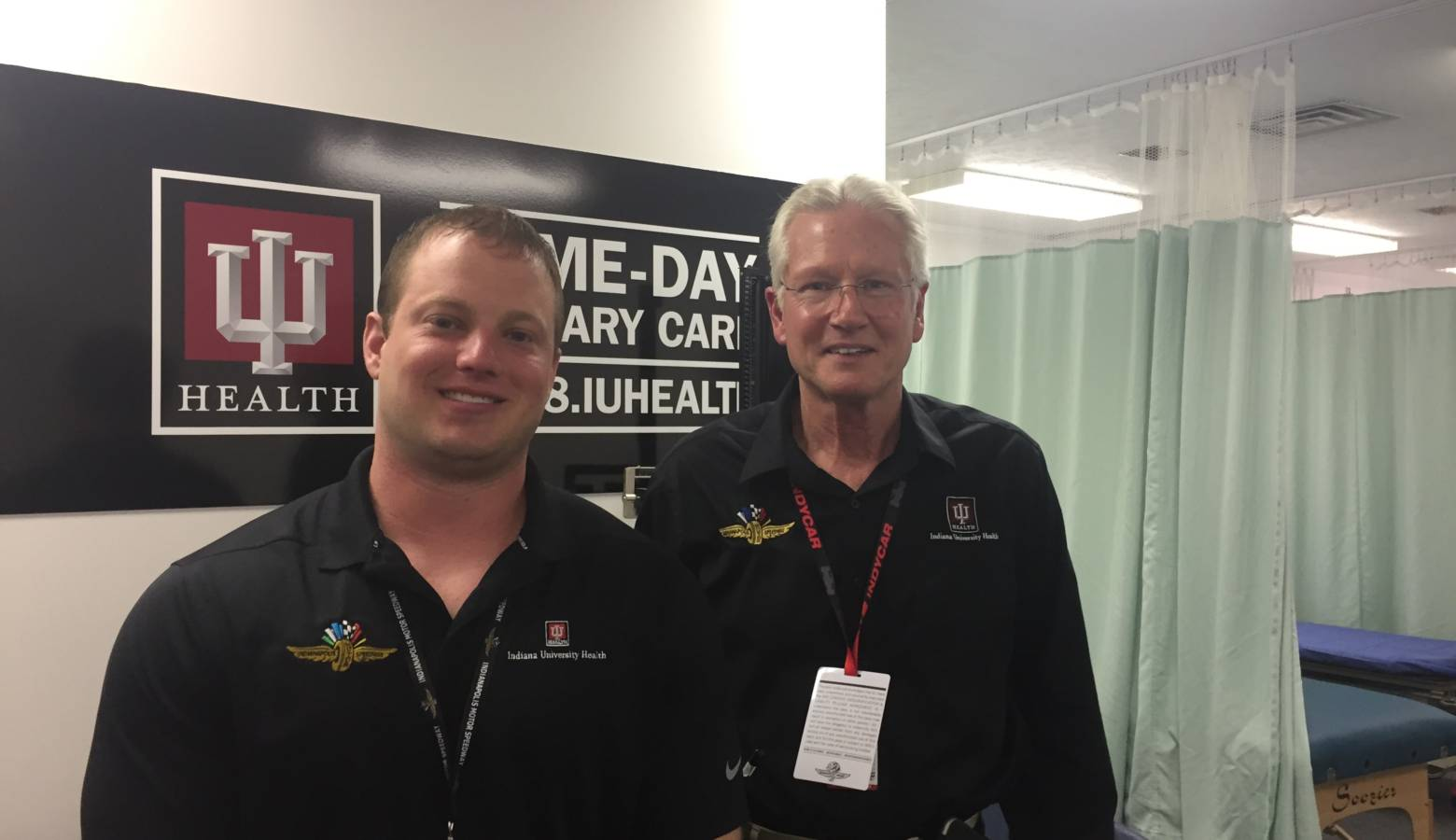 Resident Drew Lowry and IU Health Dr. Geoffrey Billows at the emergency medical center at IMS. (Jill Sheridan IPB News)