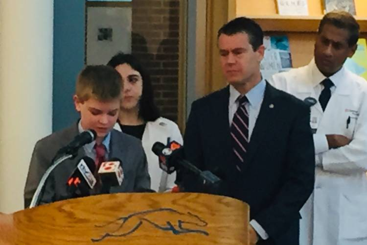 Students joined U.S. Sen. Todd Young (R-Ind.) at Carmel High School. (Jill Sheridan/IPB News)
