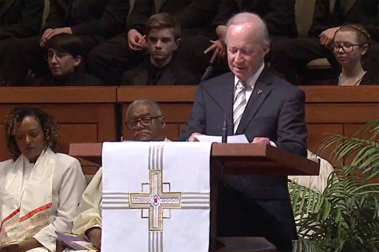 Former Gov. Mitch Daniels – a longtime Lugar staffer – speaks at former U.S. Sen. Richard Lugar's funeral in Indianapolis. (Courtesy of Lugar Center livestream)