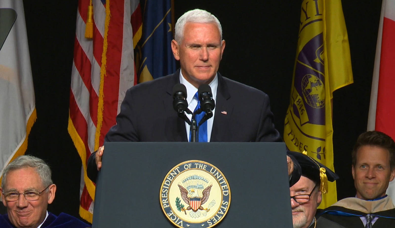 Vice President Mike Pence speaks at Taylor University's commencement. (Courtesy of Taylor University)