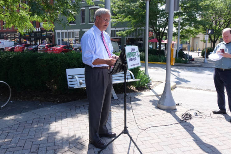 Republican mayoral candidate Jim Merritt says he will not march at Indianapolis's Pride Parade after organizers said he's not welcome, though he's not banned.