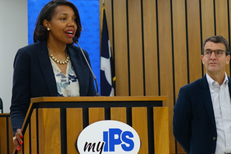 Aleeisa Johnson speaks during a press conference Friday. June 21, 2019 at the IPS Central Office.