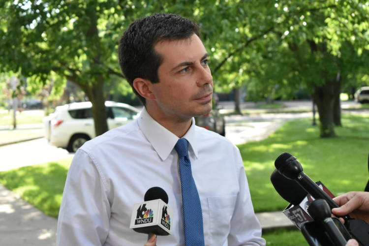 South Bend Mayor Pete Buttigieg speaks to reporters about his presidential campaign outside of a July 1, 2019 press conference about community policing efforts. (Justin Hicks/IPB News)