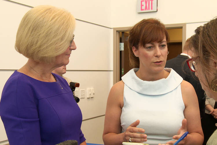 State Health Commissioner Kristina Box and Family and Social Services Secretary Jennifer Walthall announced a new order to allow Hoosiers to obtain medication to quit smoking without a prescription. (Jill Sheridan/IPB News)