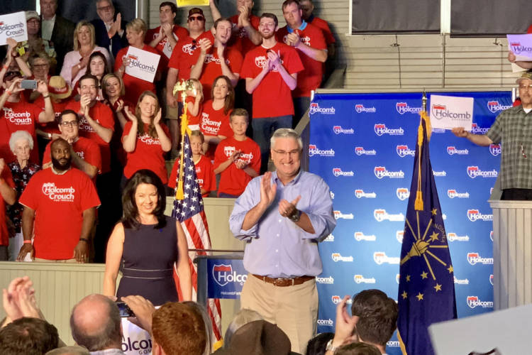 Gov. Eric Holcomb, with his wife Janet, officially launches his 2020 re-election campaign at the Hoosier Gym in Knightstown, Indiana. (Brandon Smith/IPB News)