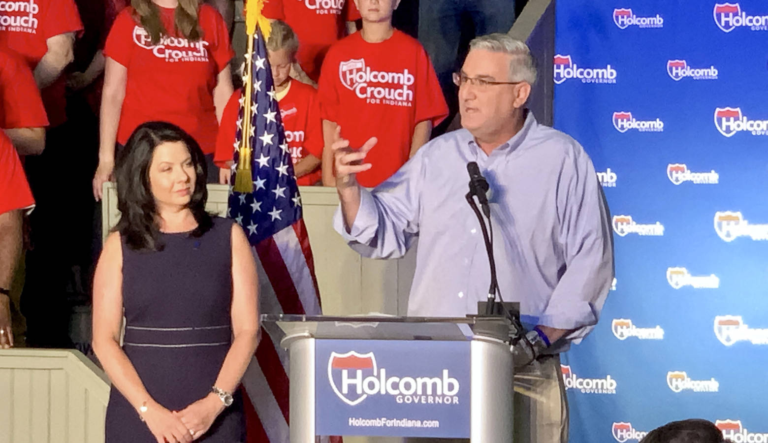 Gov. Eric Holcomb and his wife Janet at his re-election campaign launch. (Brandon Smith/IPB News)