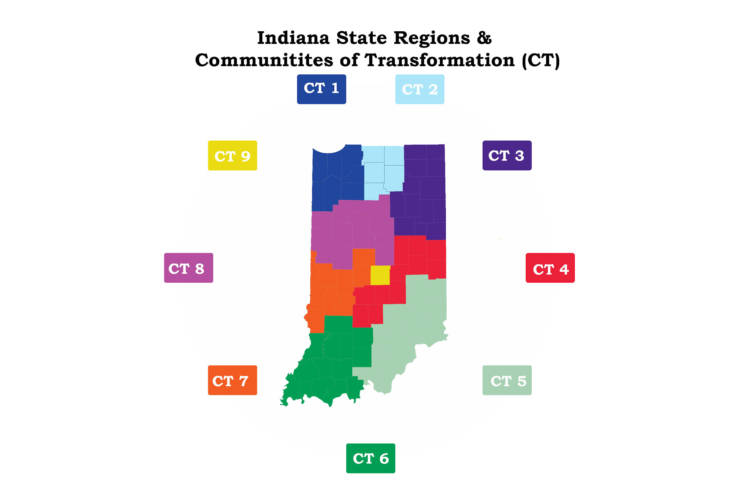 Indiana state regions and communities of transformation are based on the business development regions established by the Indiana Economic Development Corporation. (Courtesy Indiana University)