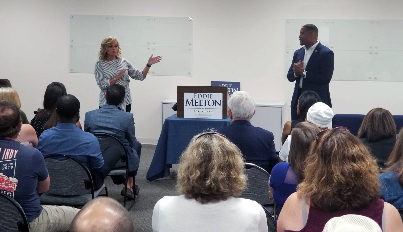 State Superintendent of Public Instruction Jennifer McCormick and Sen. Eddie Melton (D-Gary) give opening remarks at the first stop on their statewide listening tour. (Jeanie Lindsay/IPB News)