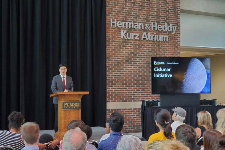 Purdue College of Engineering Dean Mung Chiang announces the new initiative. (Samantha Horton/IPB News)
