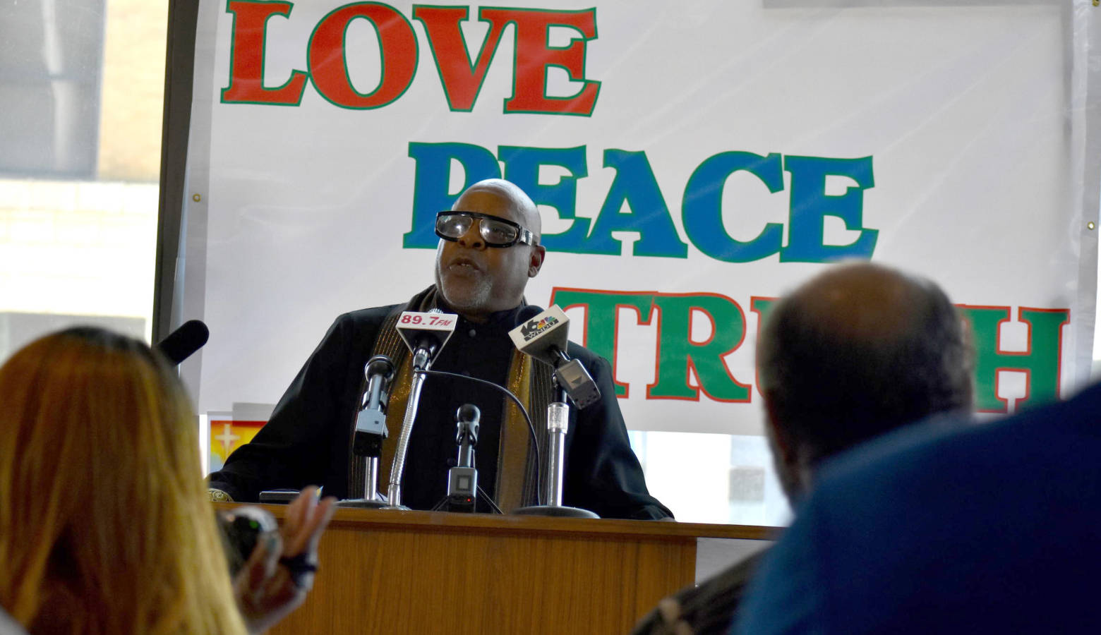 """Rev. Sylvester Williams speaking at an event where South Bend ministers prayed for the city to """"heal."""" (Justin Hicks/IPB News)"""