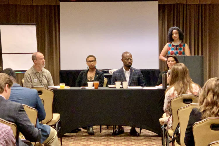Tatjana Rebelle and Jamal Abdulrasheed, center, talk faith in politics on a panel at the Young Democrats of America national convention in Indianapolis. (Brandon Smith/IPB News)