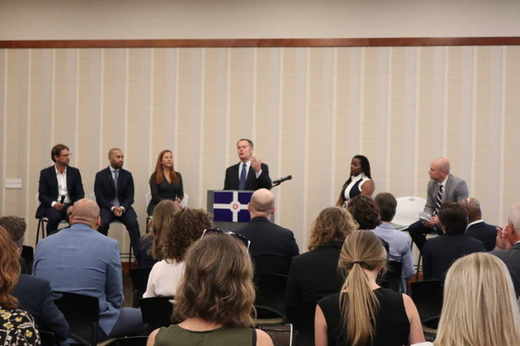 Indianapolis Mayor Joe Hogsett announces the economic plan for equitable jobs at a press conference on July 25. (Courtesy of The City of Indianapolis Mayor's Office)