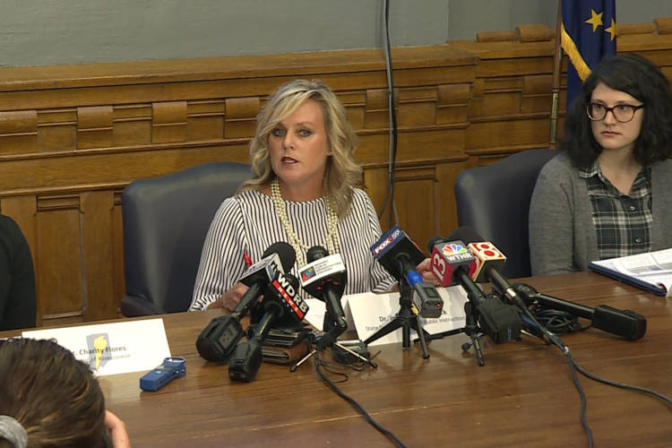 Superintendent of Public Instruction Jennifer McCormick meets with the press to discuss ILEARN results and concerns ahead of the scores going public Sept. 4. (Jeanie Lindsay/IPB News)