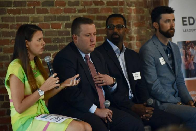 "Panelists including Indiana Career Connections and Talent Secretary Blair Milo and Department of Workforce Development Commissioner Fred Payne spoke about ""brain gain"" efforts in Indiana. (Justin Hicks/IPB News)"
