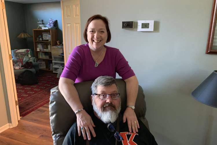 Nancy and Bill Dynes at the home in Indianapolis. (Jill Sheridan/IPB News)