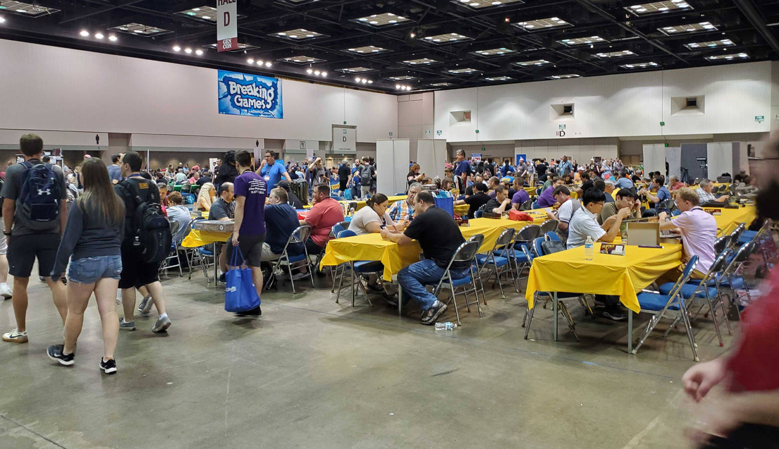 Attendees play games at the 2019 Gen Con in Indianapolis Saturday afternoon. (Samantha Horton/IPB News)