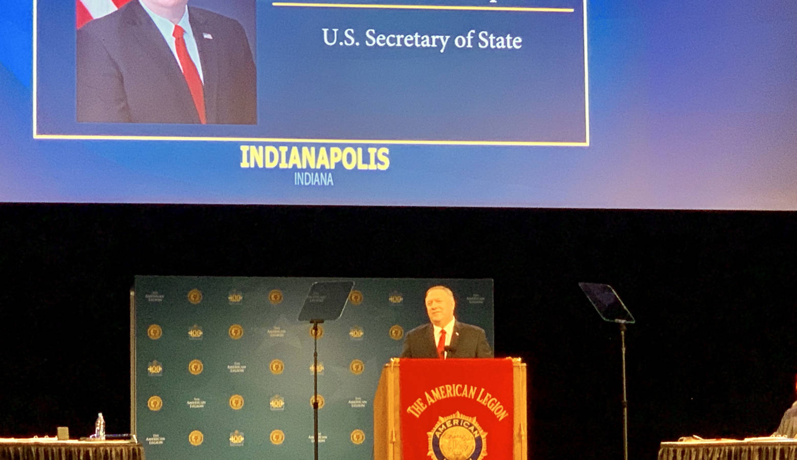 Secretary of State Mike Pompeo addresses the American Legion national convention in Indianapolis. (Brandon Smith/IPB News)