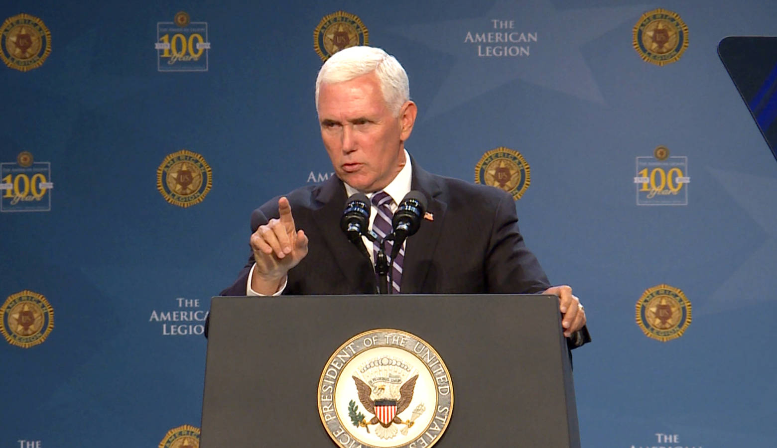 Vice President Mike Pence spoke to hundreds in Indianapolis at the American Legion's national convention. (Lauren Chapman/IPB News)