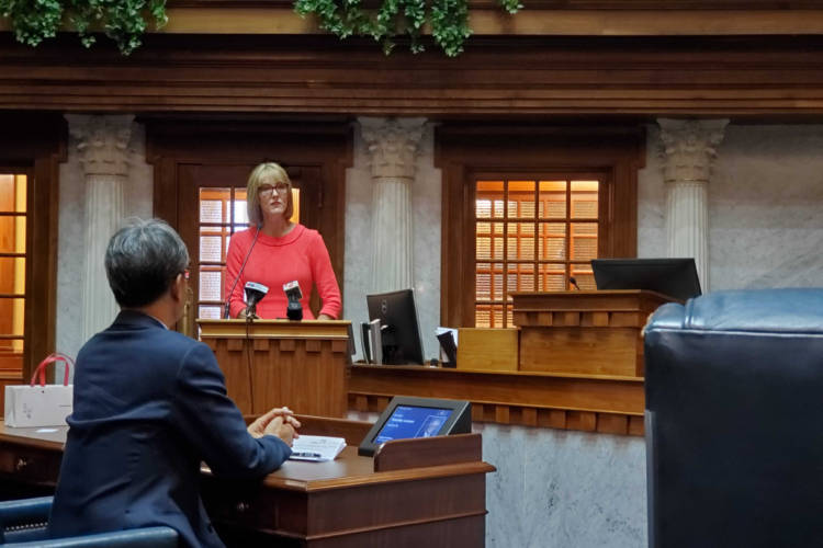 Lt. Gov. Suzanne Crouch addresses Taiwanese and Indiana officials following signing the two agreements. (Samantha Horton/IPB News)