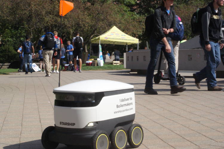 Starship Technologies shows one of the company's delivery robots on Purdue University's campus.  (Samantha Horton/IPB News)