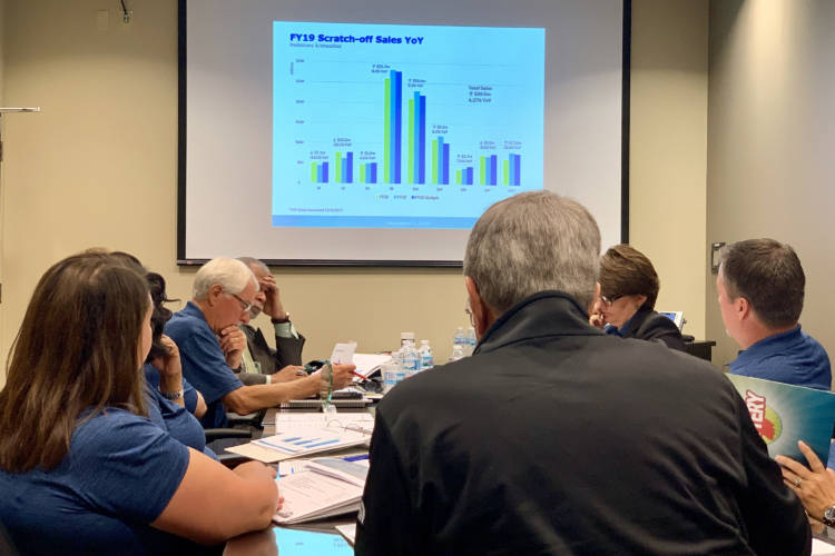 The Hoosier Lottery Commission reviews revenues from the 2019 fiscal year, which ended in June. (Brandon Smith/IPB News)