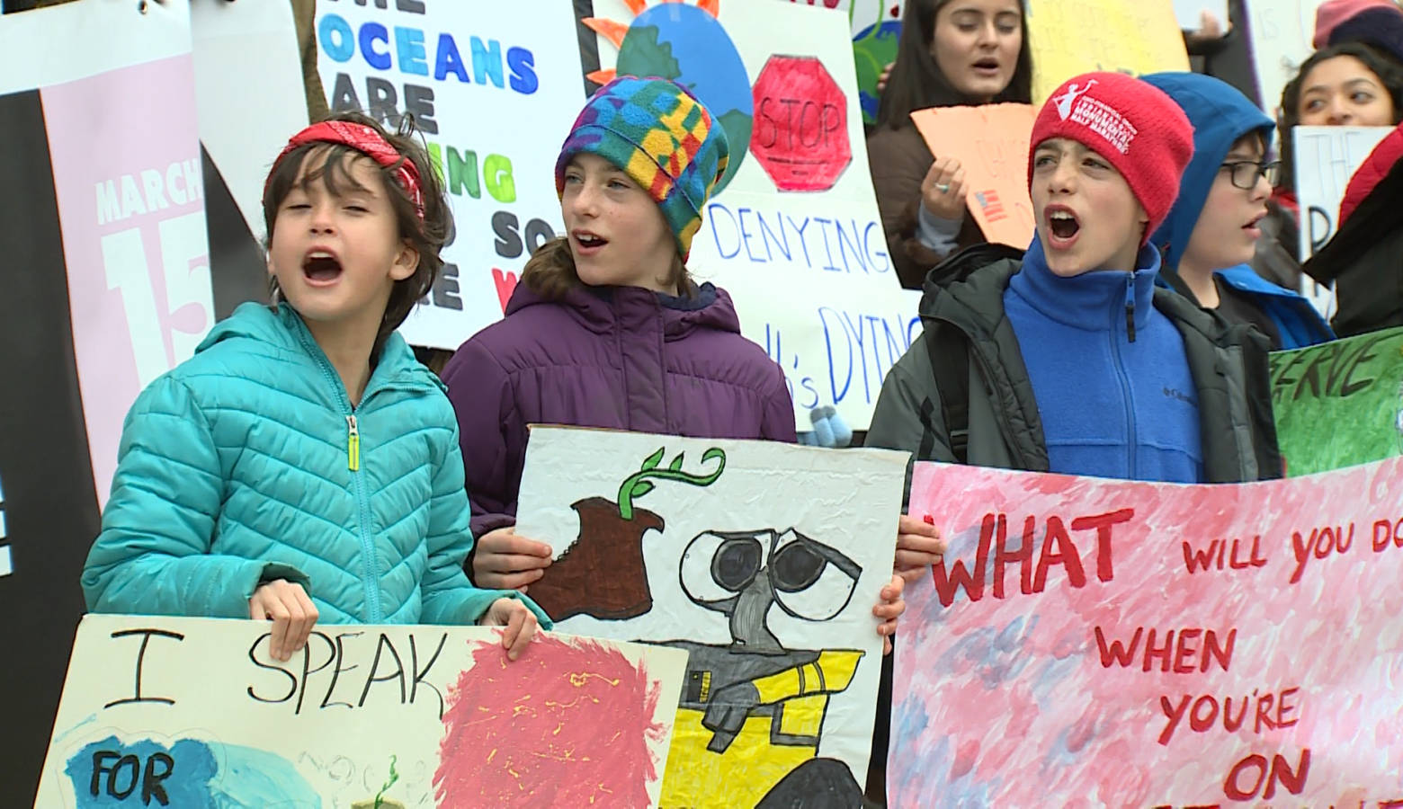 Kids at a youth climate march at the Indiana Statehouse in March. (FILE PHOTO: Steve Burns/WTIU)