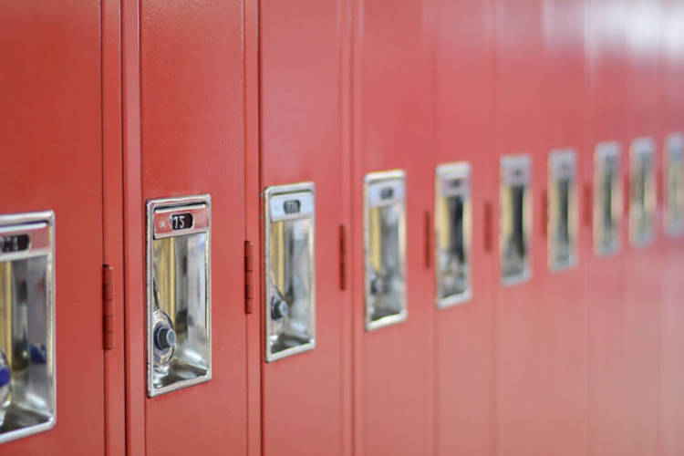 Lockers in a school.