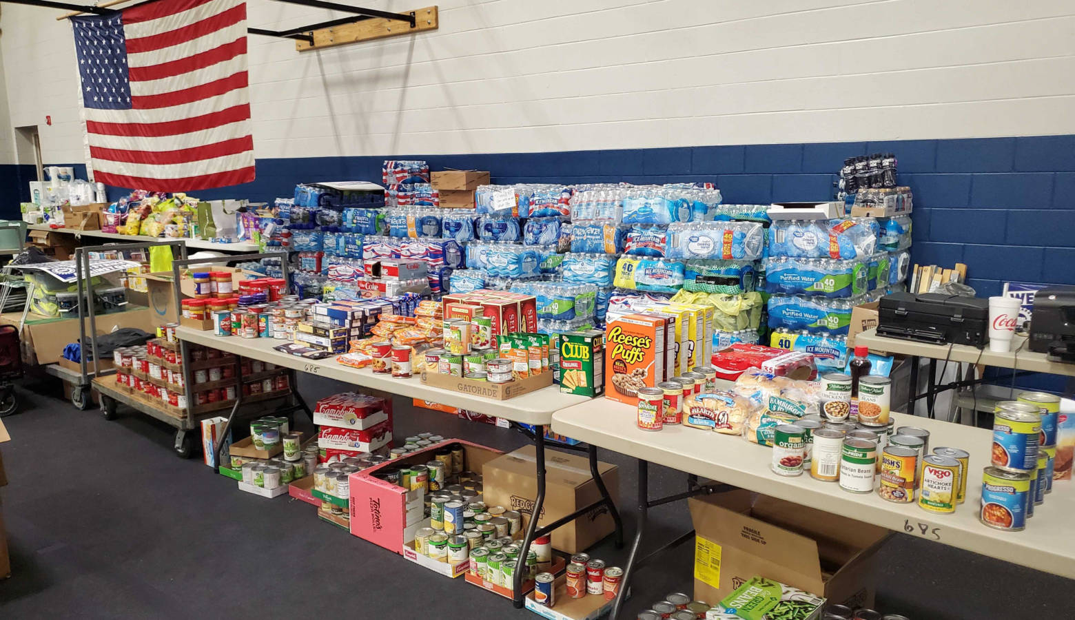 A food pantry is set up in gym of the UAW Local 685 union hall from food donated to help members in need during the strike against General Motors. (Samantha Horton/IPB News)