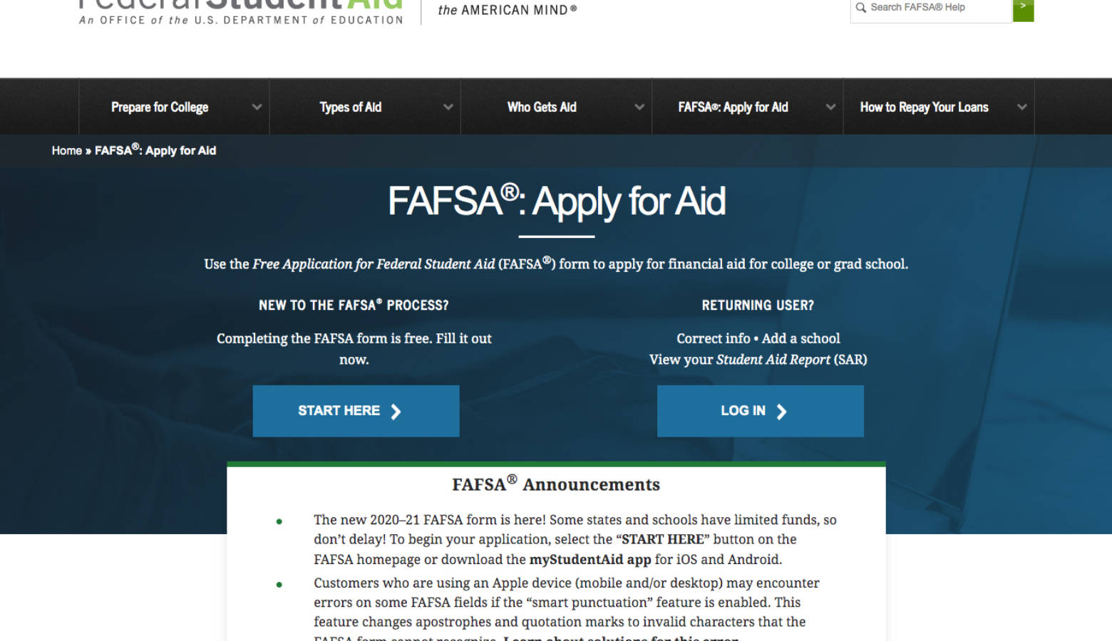 (studentaid.ed.gov/sa/fafsa)