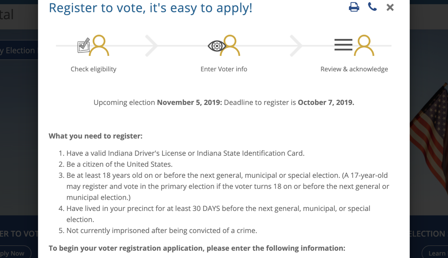 Hoosiers can register to vote online by the end of the day Monday, Oct. 7. (IndianaVoters.com)