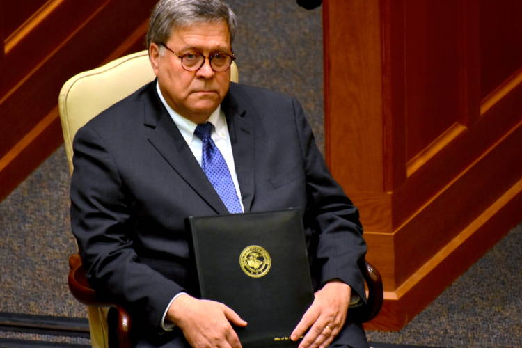 U.S. Attorney General William Barr spoke at Notre Dame Law School on Friday afternoon. (Justin Hicks/IPB News)
