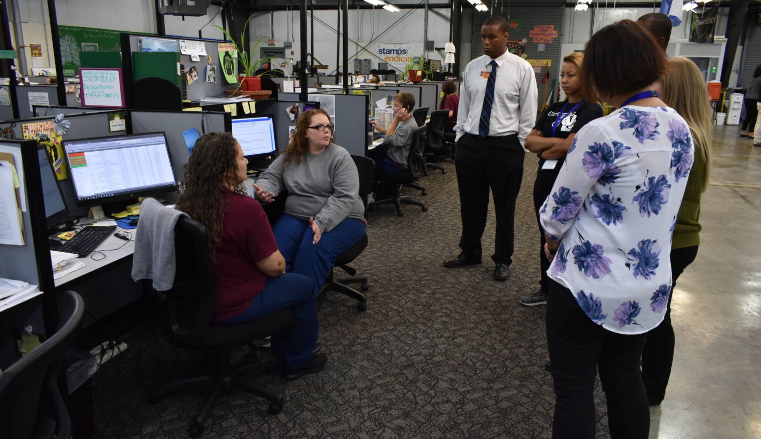Employers speak with inmates at the Televerde call center located within Rockville Correctional Facility. (Justin Hicks/IPB News)