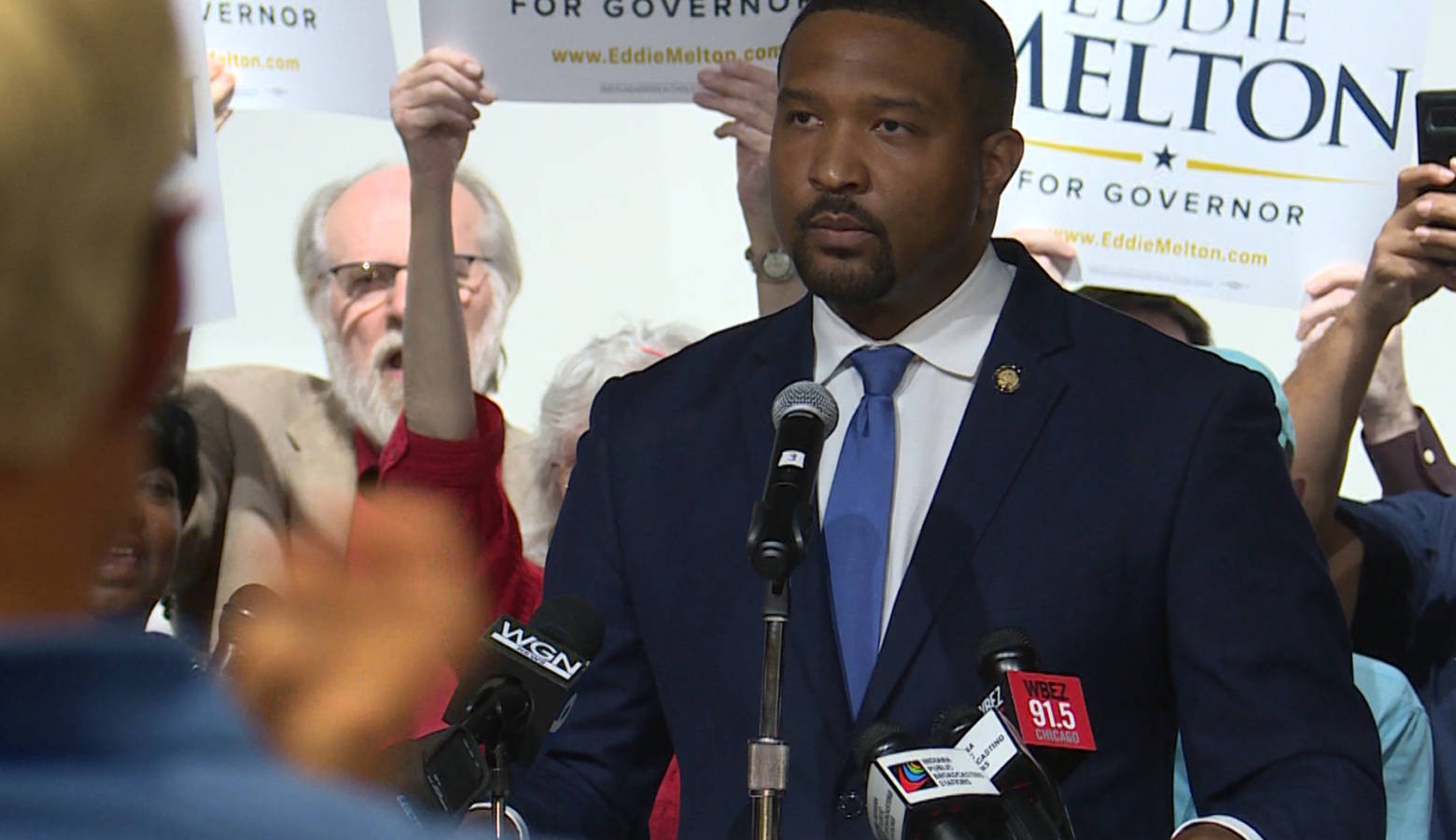 Sen. Eddie Melton (D-Gary) launched his gubernatorial bid in his hometown, with about 200 supporters cheering him on. (Lauren Chapman/IPB News)