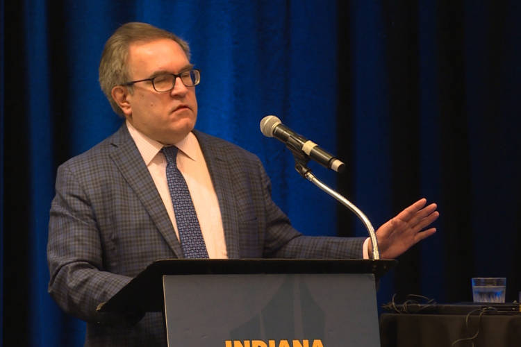 EPA Administrator Andrew Wheeler talked about federal regulation at an annual environmental conference put on by the Indiana Chamber of Commerce. (Jeanie Lindsay/IPB News)