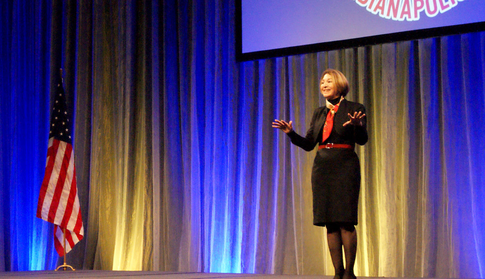 New America President and CEO Anne-Marie Slaughter speaks at the 2019 IEDC annual conference in Indianapolis. (Samantha Horton/IPB News)
