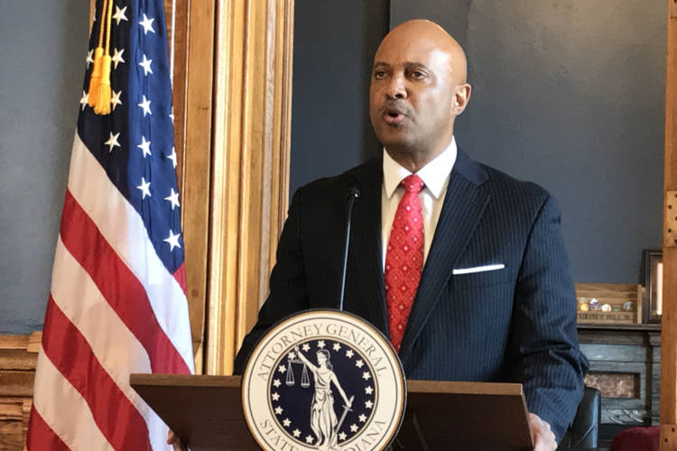 Attorney General Curtis Hill addresses the media in 2018 in the wake of allegations he groped four women. (FILE PHOTO: Brandon Smith/IPB News)