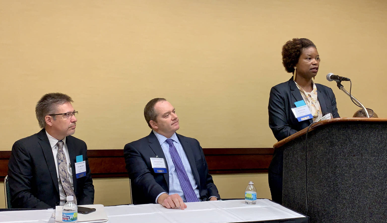 From left, Grant County Judge Mark Spitzer, Indiana Prosecuting Attorneys Council Executive Director Chris Naylor, and Indiana Public Defender Council Executive Director Bernice Corley. (Brandon Smith/IPB News)