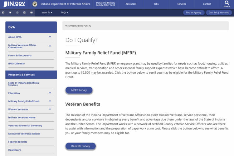 The online portal is meant to provide a way for veterans, spouses and dependents to check whether they're eligible for government benefits. (Indiana Department of Veterans Affairs)