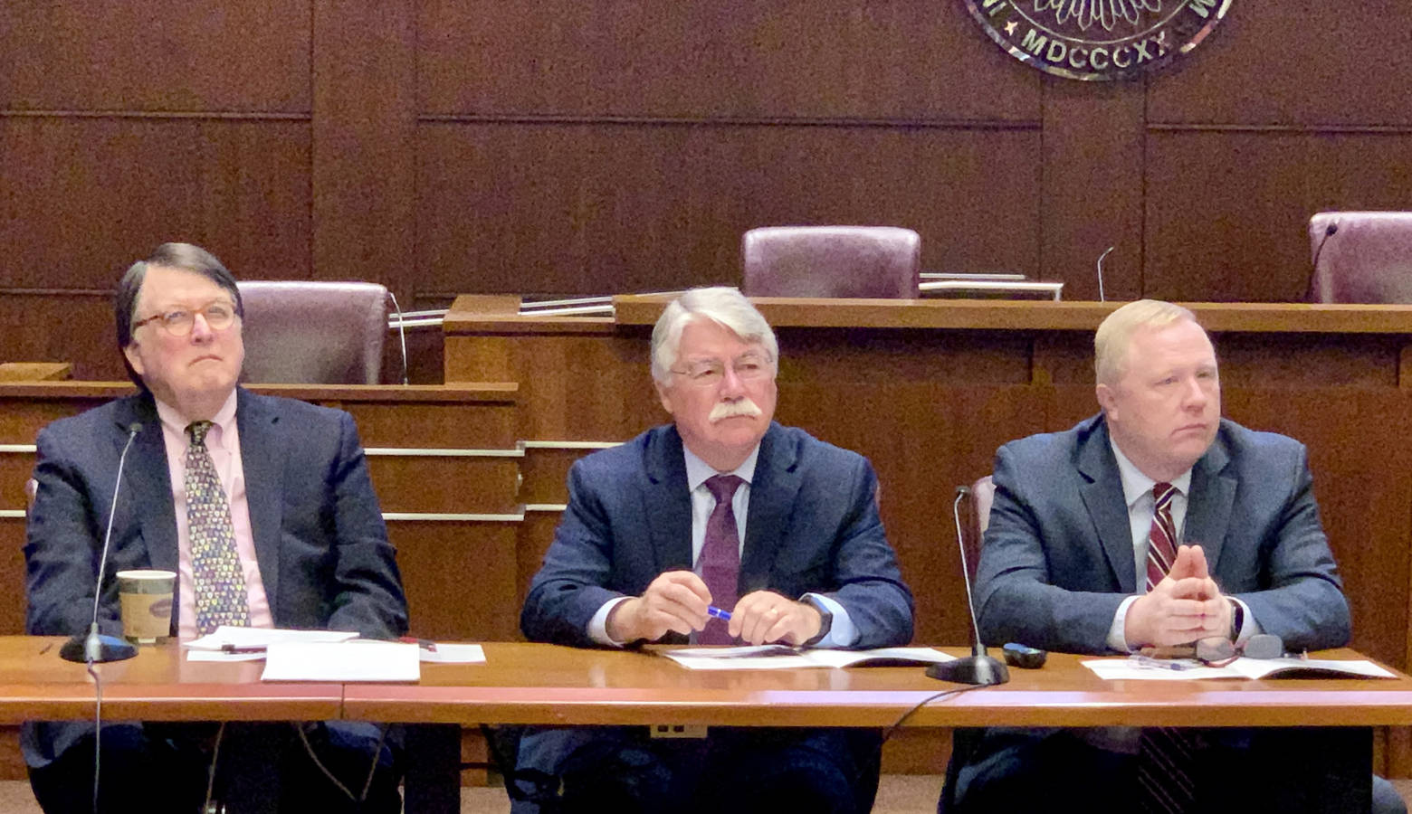 Former Indiana Chief Justice Randall Shepard, former Attorney General Greg Zoeller and Indiana Bar Foundation Executive Director Chuck Dunlap at the unveiling of the 2019 Indiana Civic Health Index. (Brandon Smith/IPB News)