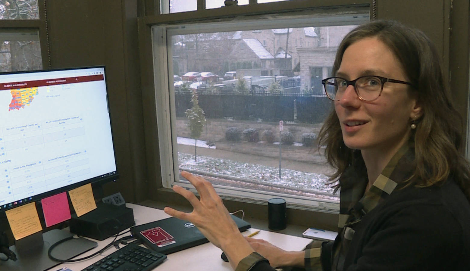 Andrea Webster of IU's Environmental Resilience Institute explains how cities and towns in Indiana can use the tool. (Rebecca Thiele/IPB News)