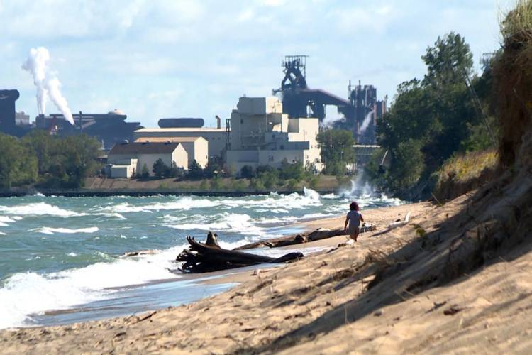 The view of U.S. Steel from Indiana Dunes National Park. (Tyler Lake/WTIU)