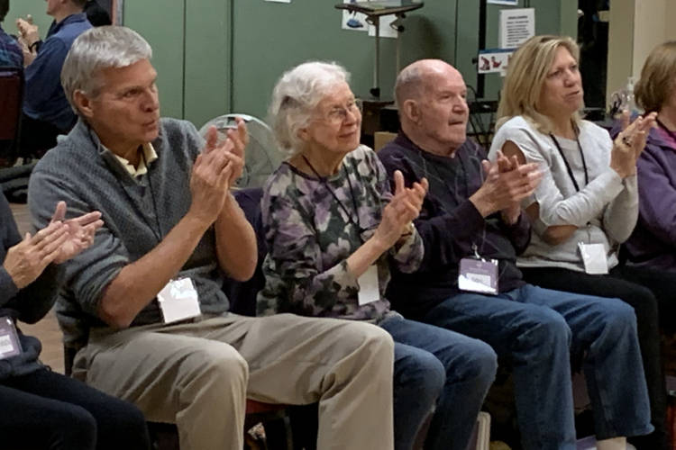 Members of the Song Shape Chorus rehearses in Carmel. It's made up of 28 patients with early to mid stages of dementia and their caregivers. (Jill Sheridan/IPB News)
