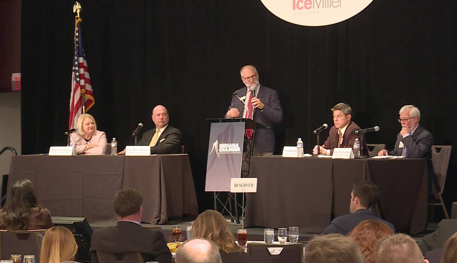 Legislative leaders preview the 2020 session at a panel hosted by the Indiana Chamber of Commerce. (Lauren Chapman/IPB News)